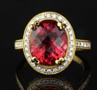 Natural Pink Tourmaline Diamond 18K Gold Designer Ring