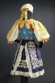 COSTUME embroidered bonnet cap blouse apron skirt vest Piestany kroj