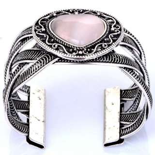 pink heart glass cat eye VTG Tibet silver cuff bracelet