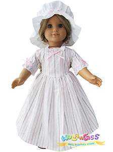 Pinstripe Colonial Work Gown fits 18 American Girl Doll   Elizabeth