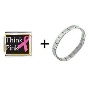 Think Pink Ribbon Awareness Italian Charm Pugster