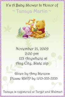 WINNIE The POOH CUSTOM Baby shower Invitations Classic