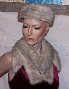 Vintage Grayish Mink Hat & Collar Marche