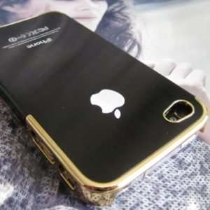 Luxury Black Gold Real Brushed Metal Back Hard Case Cover