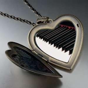 Classic Piano Keys Large Photo Locket Pendant Necklace