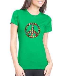 Peace Symbol Skulls Tie Dye Next Level Tee Shirt