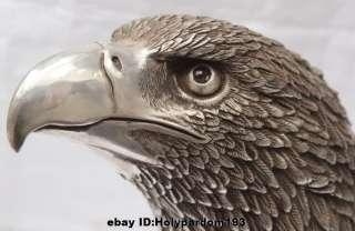 Ferocious Chinese Silver Arabia Hawk Eagle Bird Head Bust Figures