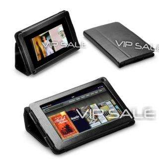 KINDLE FIRE BLACK PREMIUM PU LEATHER COVER CASE WITH STAND   FAST