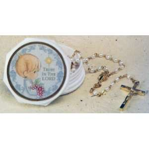 Roman Precious Moments Boy First Communion Box with Rosary