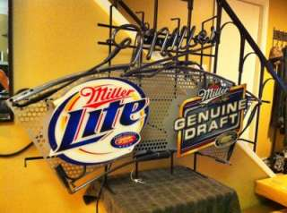 HUGE 4 Miller Lite & MGD neon sign beer bar light LOCAL PICKUP