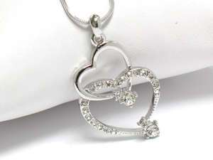 NEW WHITE GOLD DOUBLE HEART TWO HEARTS DUAL OPEN HEART CRYSTAL LINK
