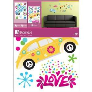 Sixties Peace Love Retro Flowers Polka Dot Wall Sticker