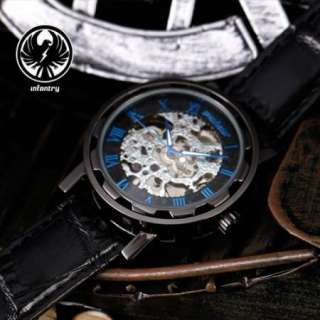 Semi Automatic PACIFISTOR Mens Mechanical Analogue Watch Black Leather