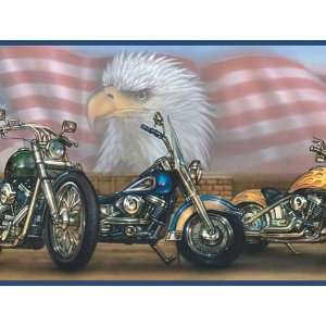 Motorcycles Patriotic Wallpaper Border: Home & Kitchen