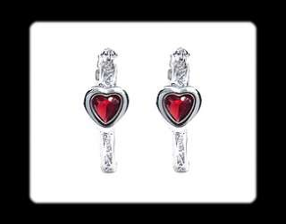 Xmas Gift Heart Cut Garnet White Gold GP Earrings Ruby Fashion Jewelry