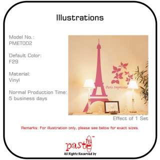 Wall Stickers Decal Quote Decor Eiffel Tower PMET002