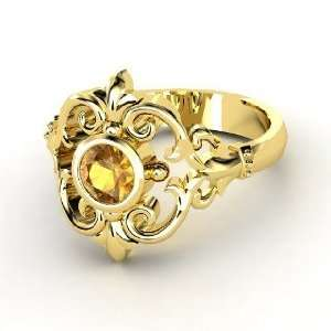 Winter Palace Ring, Round Citrine 14K Yellow Gold Ring Jewelry