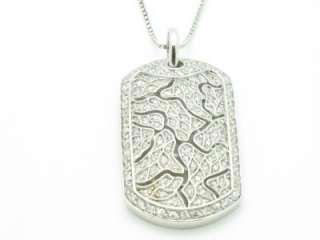 PLATINUM SILVER DIAMOND SET LEAPORD PRINT DOG TAG CHARM