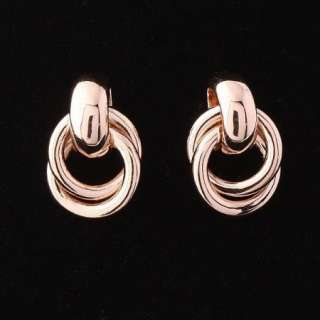 ARINNA Swarovski Crystal rose Gold GP circle Earrings