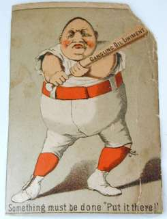 Funny 19h c Baseball rade Cards Gargling Oil Linimen |