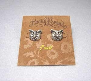 LUCKY BRAND OWL SILVER TONE STUD EARRINGS