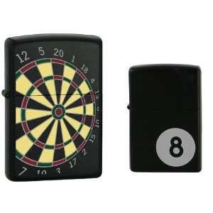 Zippo Lighter Set   Bar Games; 8 ball and Dartboard Black