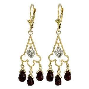 Genuine Garnets & Diamond Heart 14k Gold Chandelier