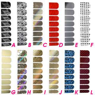 1pc Nail Art Decoration Sticker Foils Decals 12 Style