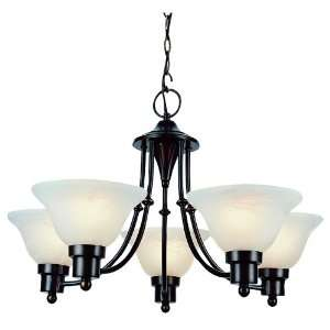 BN Brushed Nickel Transitional Five Light Energy Star Up Lighting Chan