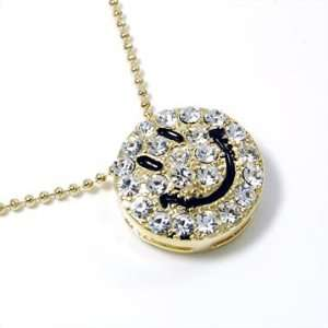 ICED Smiley Face BLING Charm Necklace Gold Tone Jewelry