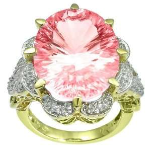 10k Gold Plated Sterling Silver Oval Cut Pink Cubic Zirconia Ring