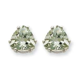 14k Goldw 8mm Trillion Green Amethyst Earring Jewelry