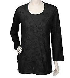 Susan Graver Burnout Knit Tunic w/Solid Tank WHITE/BLCK