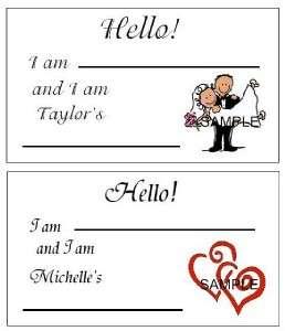WEDDING BRIDAL SHOWER NAME TAGS LABEL FAVOR 100+DESIG