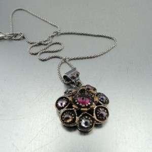 Hadar Designers Antique Slyle 24k Gold Pl Silver Garnet Colored Gems