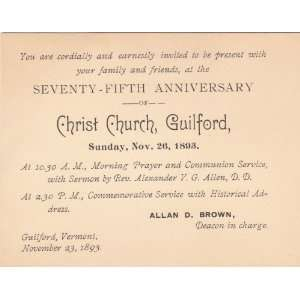 Invitation 75th Anniversary Christ Church Guilford: Everything Else