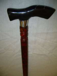 HAND CARVED BLACK HORN&AFRICAN WOOD WALKING STICK/ CANE