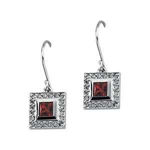 14K White Gold Created Ruby and Diamond Earrings Shula NY Jewelry
