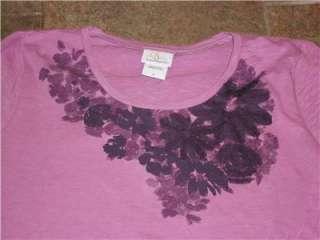 NWT Oh Baby Motherhood Maternity Purple Flower T Shirt Top S M L XL