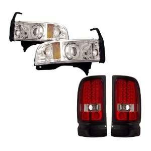 94 01 Dodge Ram Chrome CCFL Halo Projector Headlights