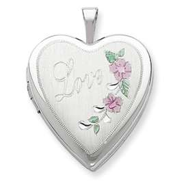 New Sterling Silver D/C & Enameled Love Heart Locket