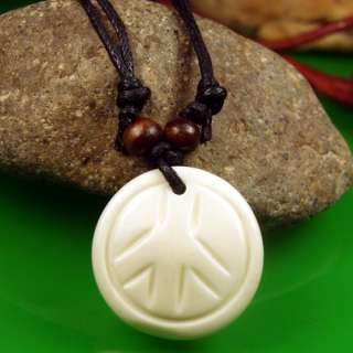 White Tibetan Round Bone Peace Hemp Necklace Pendant FS