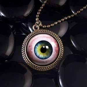 Human Eye Taxidermy Eyeball Halloween Antique Bronze Pendant Necklace