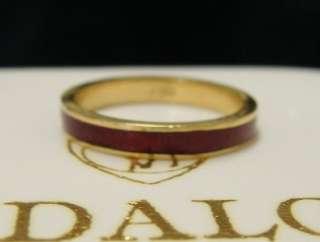 Designer Hildalgo 18k Yellow Gold Red Enamel Band Ring