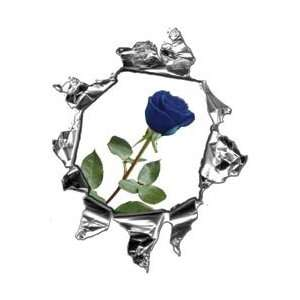 Mini Ripped Torn Metal Decal with Blue Rose   12 h