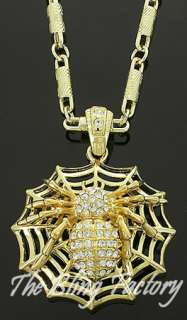 Mens Gold Iced Out Spider CZ Hip Hop Bling Pendant GP