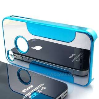 Blue Chrome Mirror Metal Hard Case Cover Snap On for Apple iPhone 4 4S