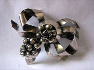 Vintage Hobe Sterling 925 Silver Big Bow & Flower Brooch/Pin, Signed