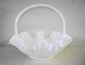 Vintage Fenton Large Milk Glass Hobnail Basket Bowl