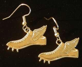 Flying Shoe Earrings 24k Gold Plate Cross Country Track